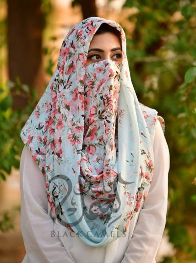 ladies scarves, scarfs, niqab, hijab, abaya, latest scarfs, modesty , female fashion,Misri Hijab- Pink Floral,Pink
